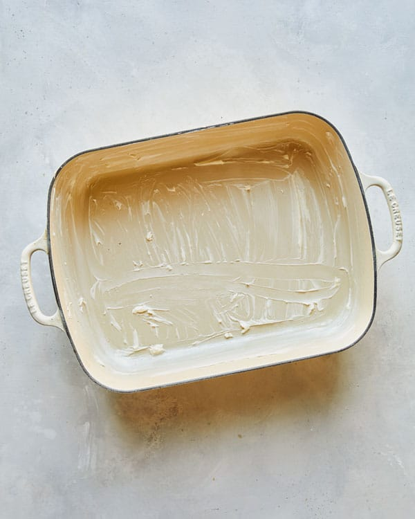A greased baking dish.