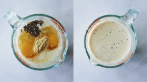 Cheese sauce ingredients mixed in a bowl.