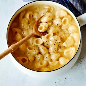 Stovetop mac and cheese recipe in a pot.