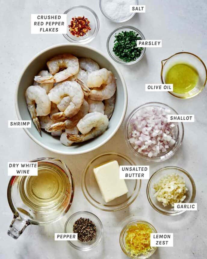 Shrimp scampi ingredients in a kitchen.