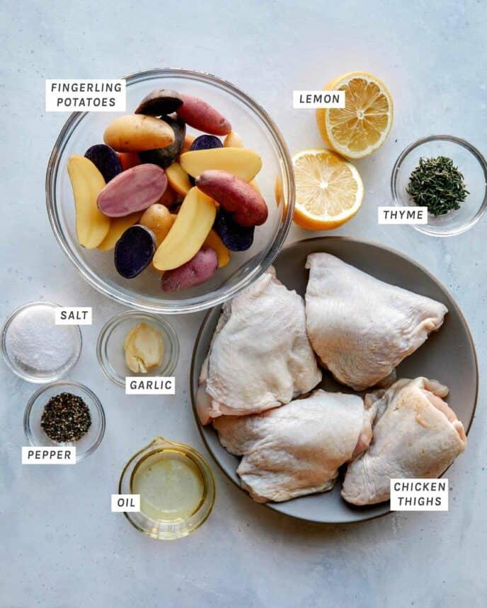 Crispy chicken thigh ingredients on a kitchen counter.