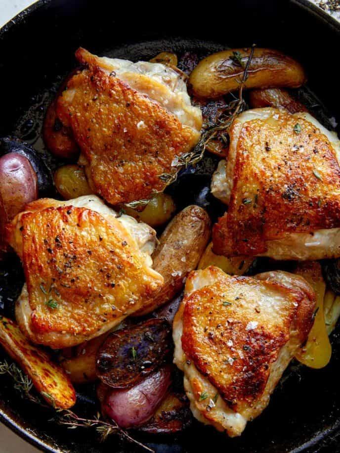 Close up on crispy chicken thighs.