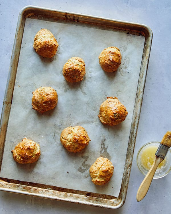 Drop biscuits baked on with fresh butter brushed on top.