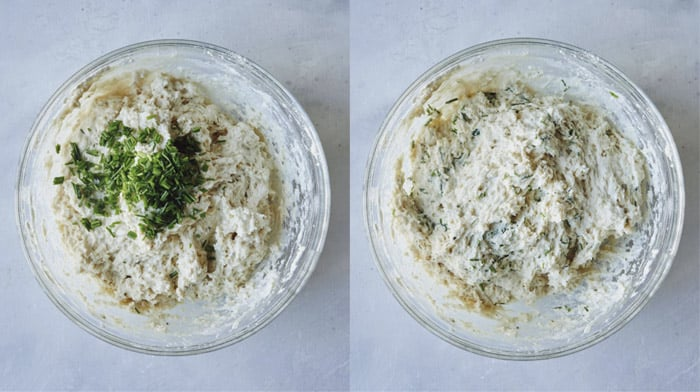 Drop biscuit dough in a bowl adding chives.