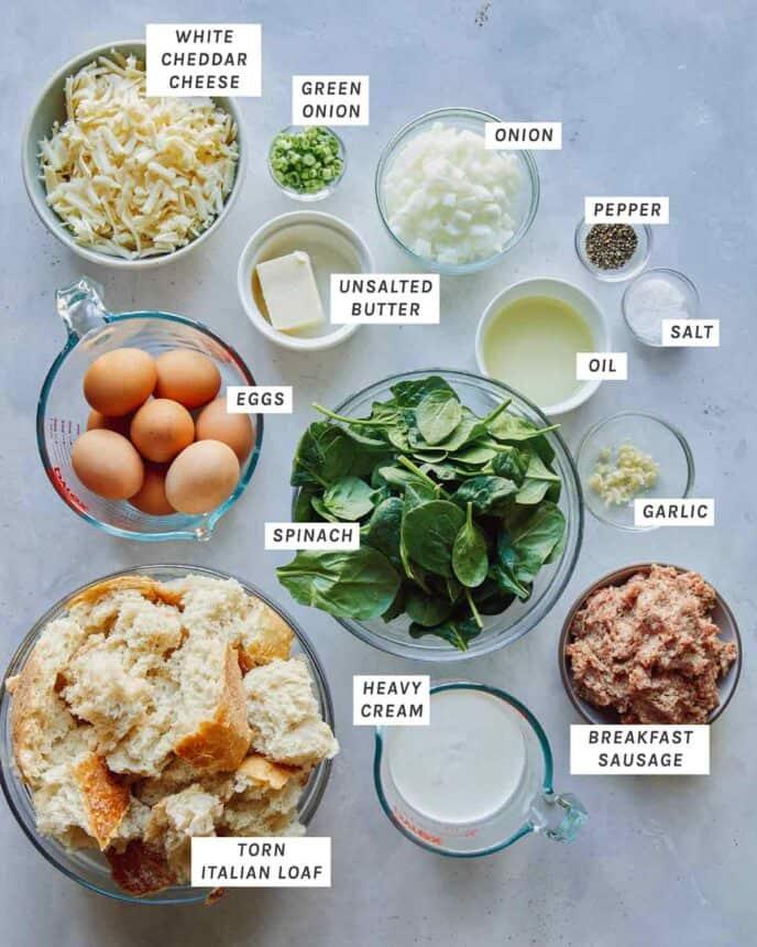 Ingredients to make our Sausage  Strata recipe.