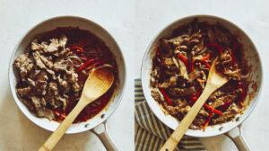 Szechuan beef in a skillet.