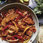 Chicken fajitas recipe in a skillet.