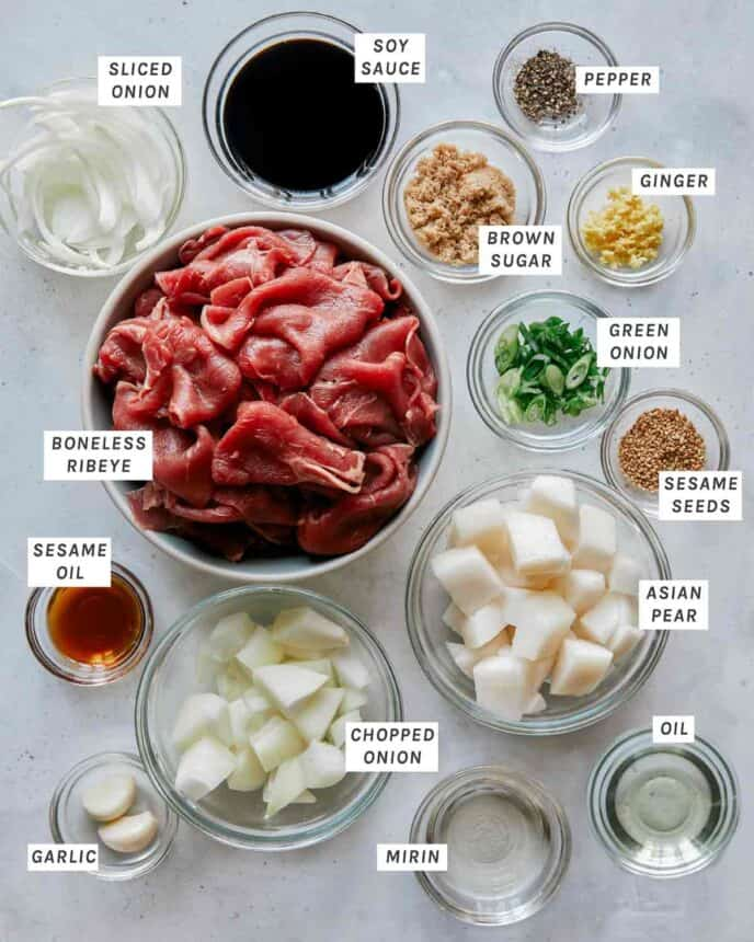Beef bulgogi ingredients on a kitchen counter.