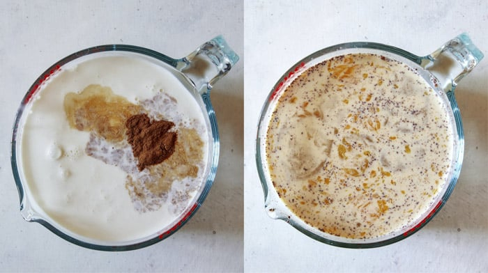 Cream mixture for berry bread pudding.