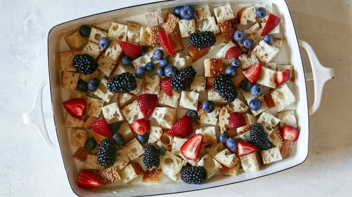 Bread pudding with berries.