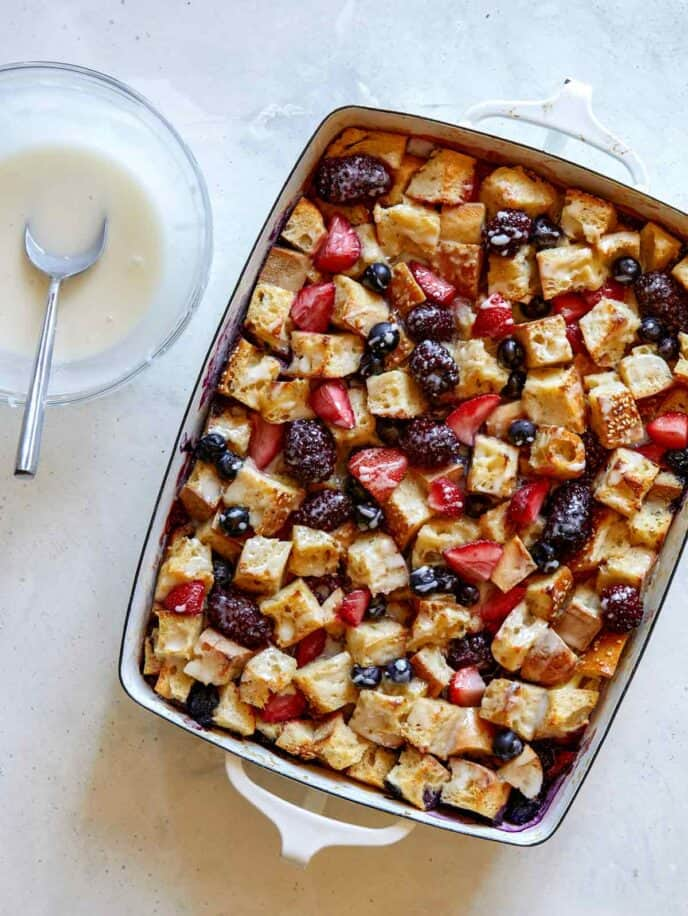 Berry bread pudding with a glaze.