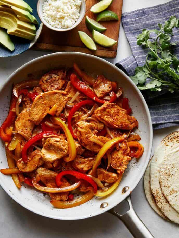 Chicken fajitas made with chicken fajita seasoning.