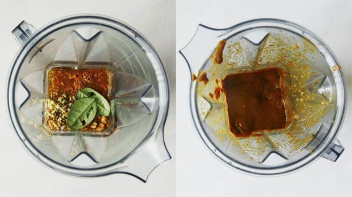 Chicken satay ingredients in a blender.
