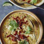 Corn chowder recipe in two bowls.