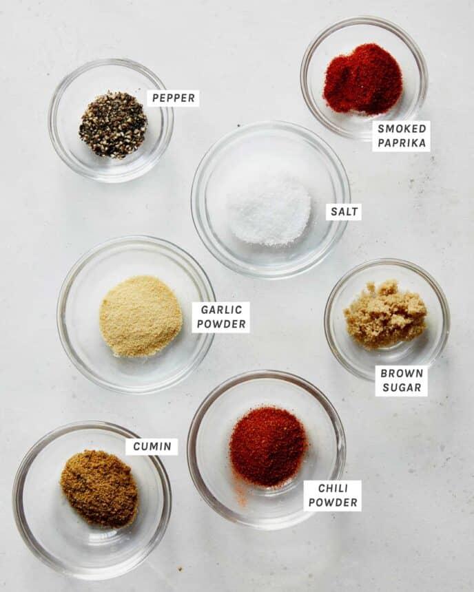 Fajita seasoning ingredients on a kitchen counter.