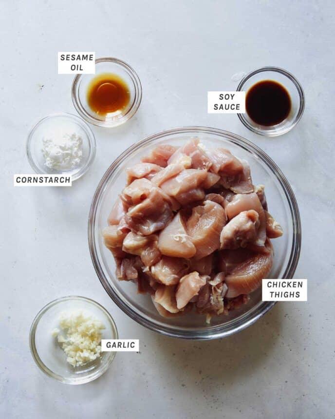 Marinated chicken ingredients for honey garlic chicken.