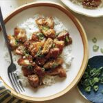 Honey garlic chicken dinner recipe in two bowls ready to be eaten.