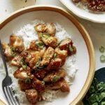 Weeknight dinner recipe of honey garlic chicken.