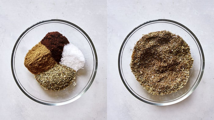 Carnitas spice rubs in a glass bowl.