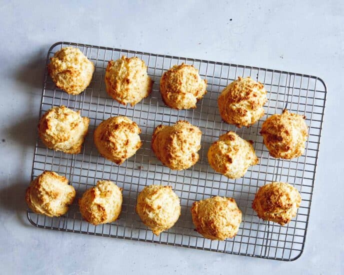Biscuits cooling on a rack.