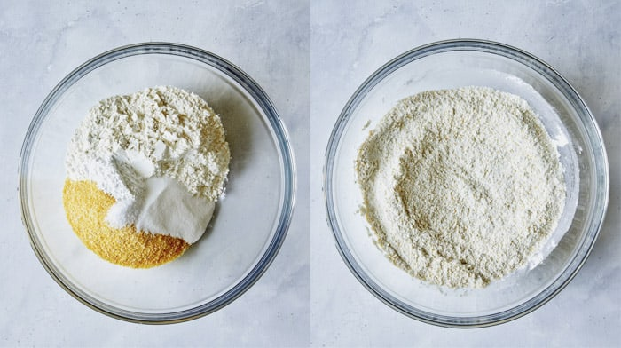 Dry ingredients in a bowl to make biscuits for strawberry shortcake.