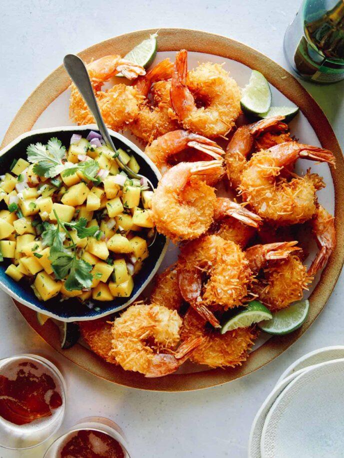 Coconut Shrimp recipe with mango salsa on the side.