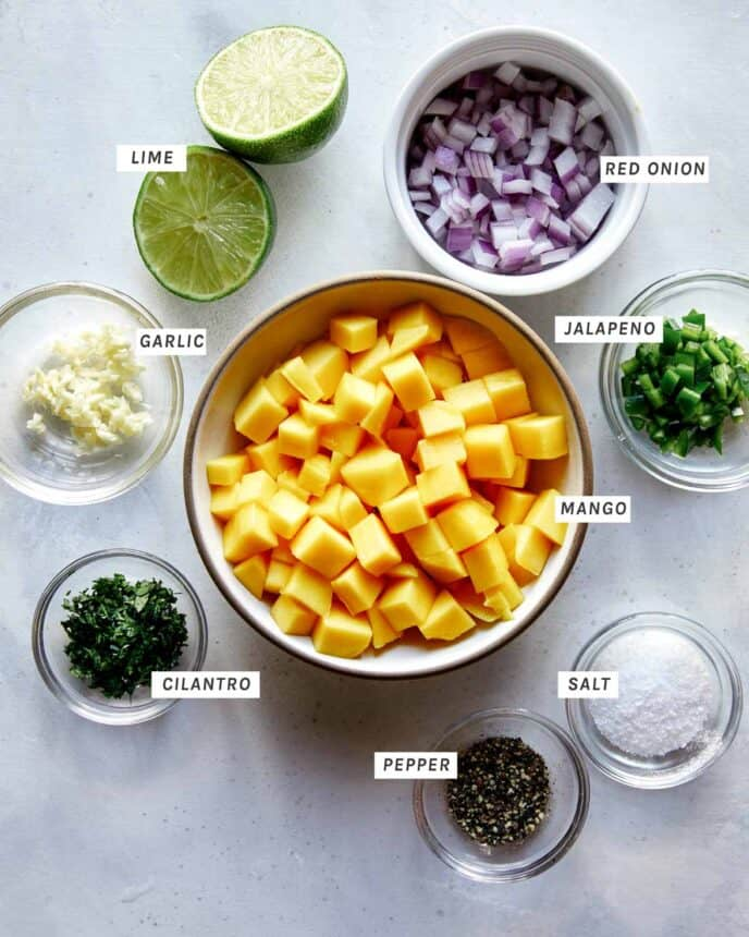 Mango salsa ingredients all prepped out.