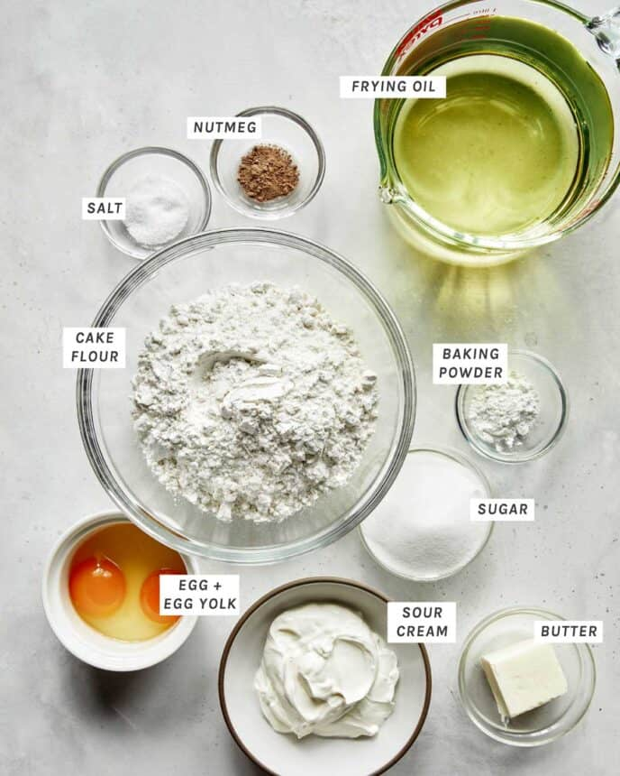 Ingredients to make old fashioned donuts.