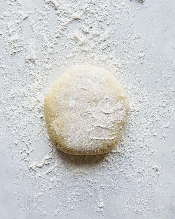Dough sprinkled with flour.