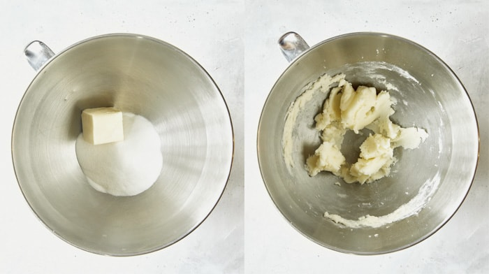 Butter and sugar creamed together in a stand mixer.