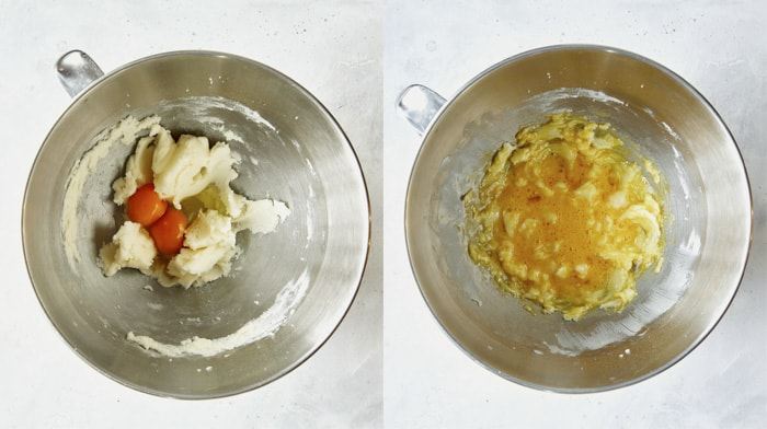 Egg yolks with creamed butter and sugar.