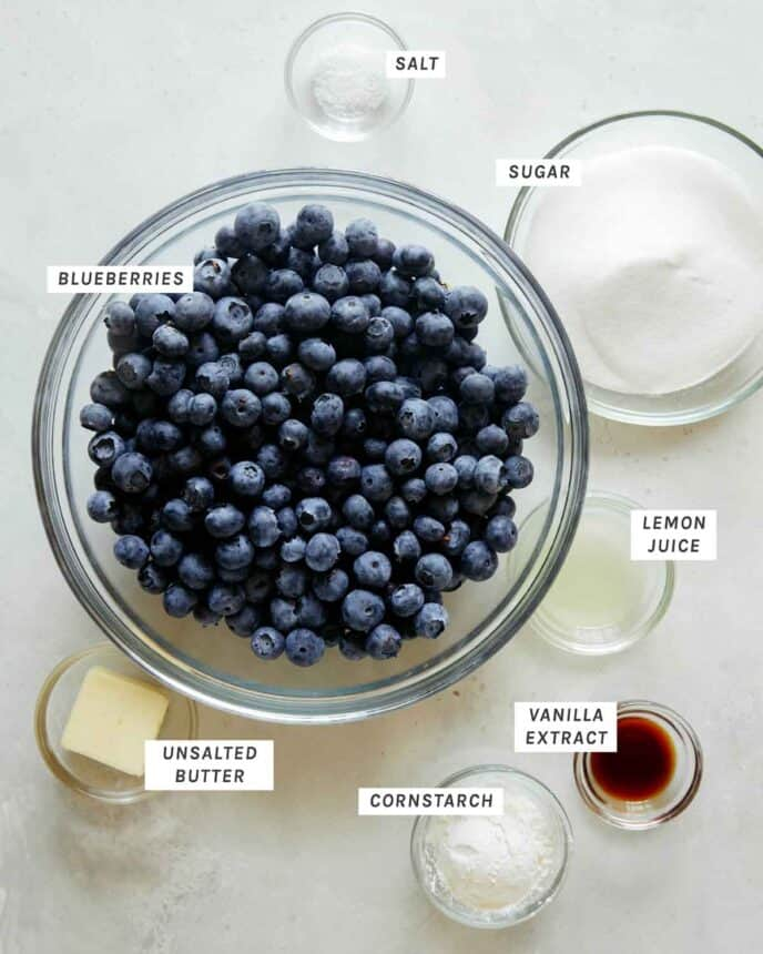 Blueberry filling ingredients all laid out.