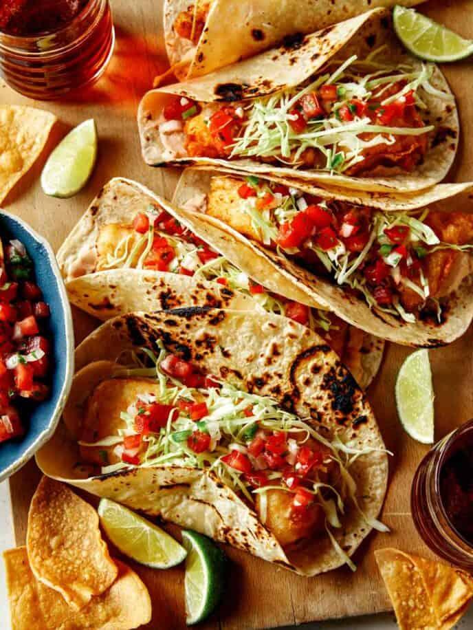 Baja Fish Tacos recipe on a board.