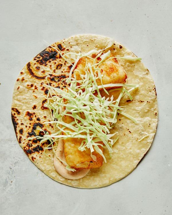 Building baja fish tacos recipe.