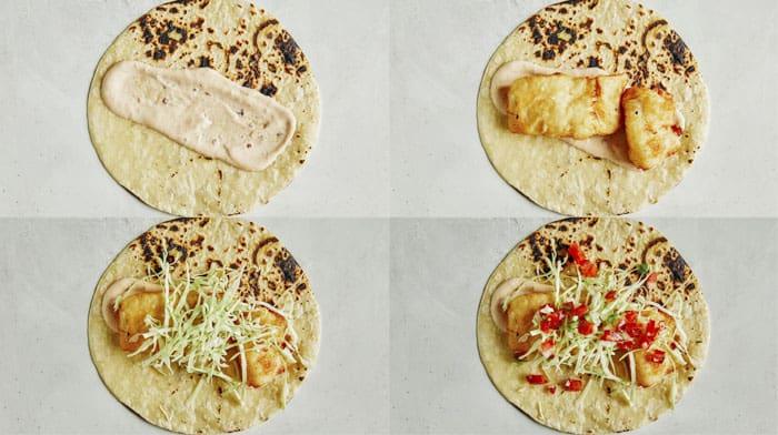 Baja fish tacos recipe built.