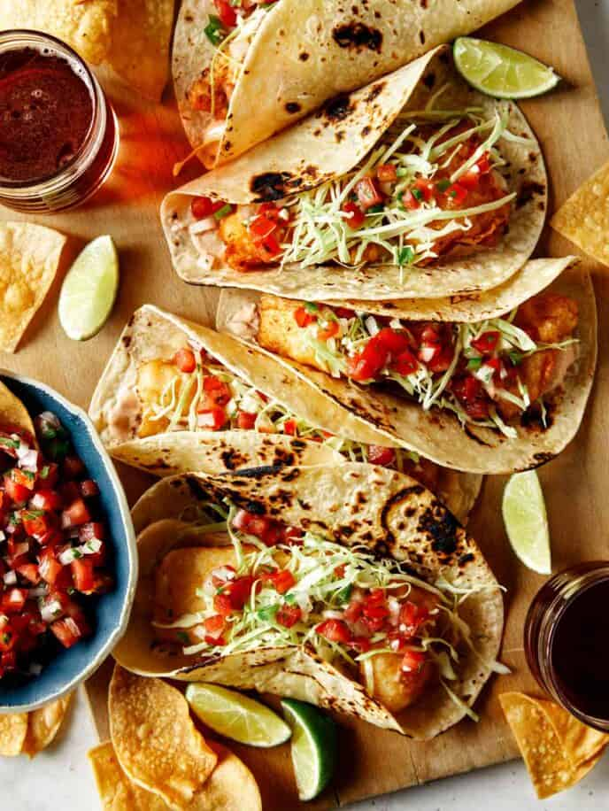 Baja fish tacos recipe with beer on the side.