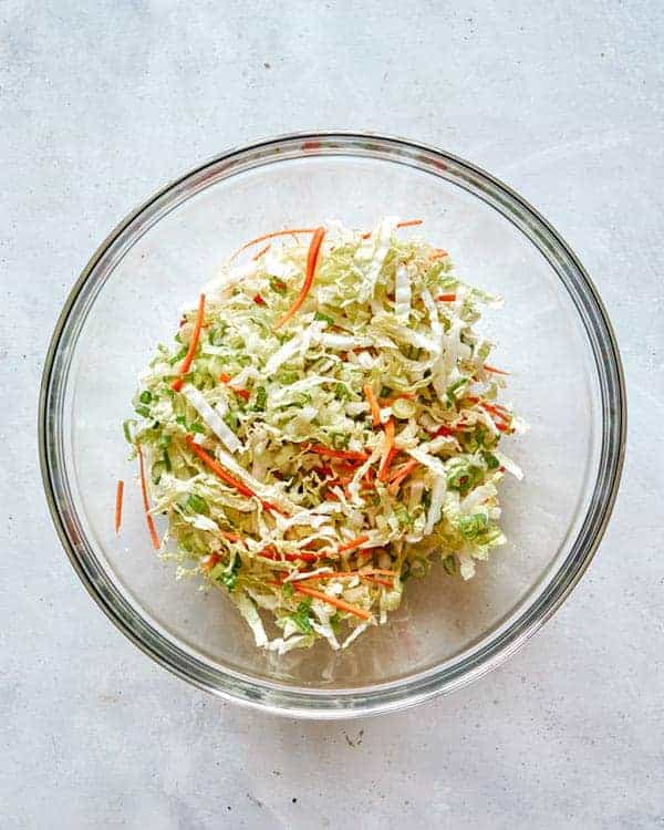 Vegetables in a bowl for okonomiyaki.