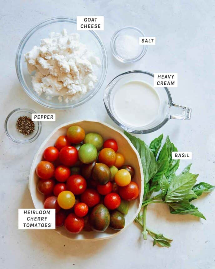 Ingredients for an heirloom tomato tart filling.