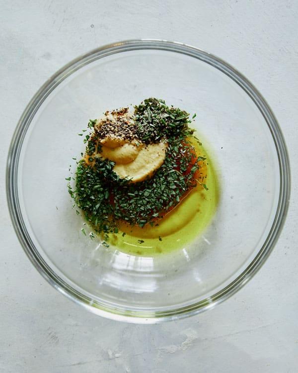 Lamb kabob marinade in a bowl.