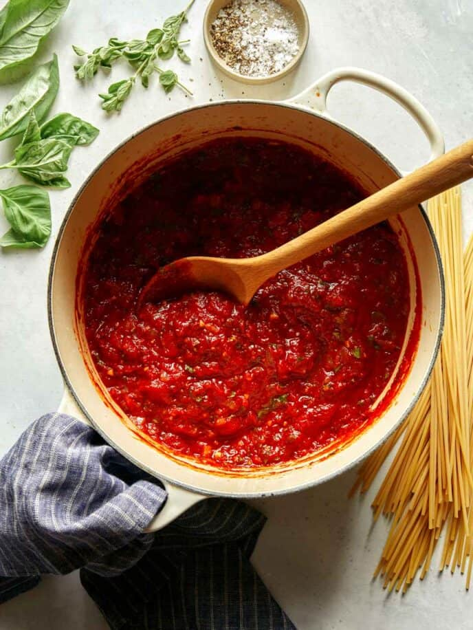 Arrabiata sauce recipe just made in a stock pot.