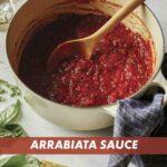Arrabiata sauce in a stock pot just made.