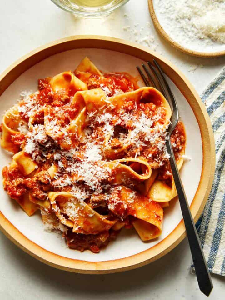 Bolognese sauce recipe in a bowl with pasta.