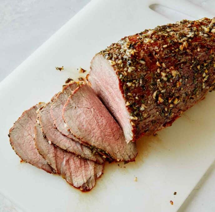 Roast beef thinly sliced.
