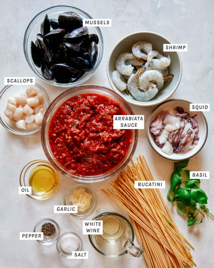 Frutti Di Mare ingredients all laid out.
