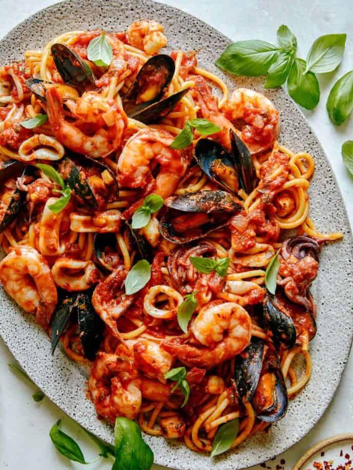 Frutti Di Mare recipe on a platter.