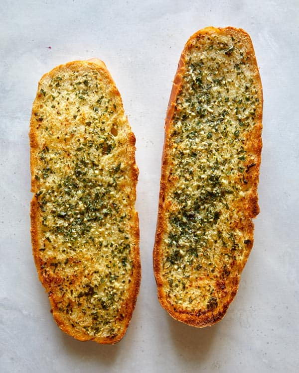 Toasted garlic bread right out of the oven.