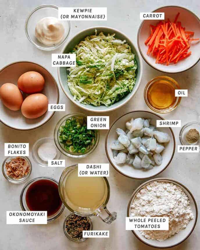 Ingredients to make okonomiyaki.