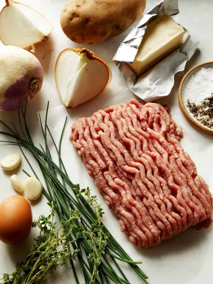 Ingredients all laid out to make pork pasties.