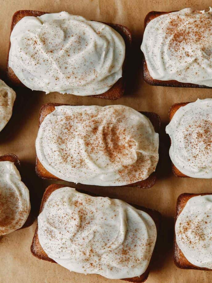 Pumpkin bars overhead to show off cream cheese frosting.