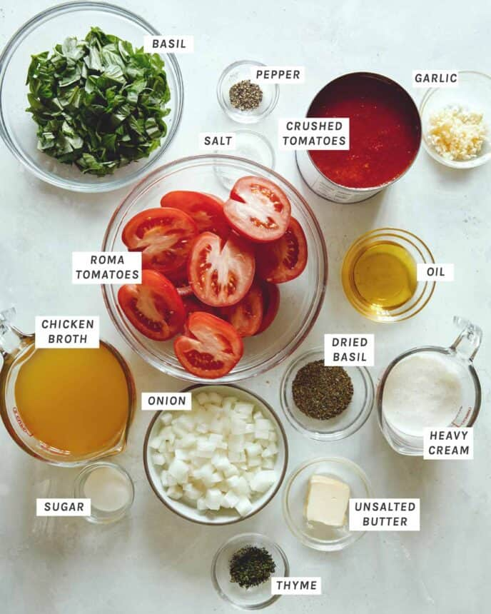 Ingredients for tomato soup.